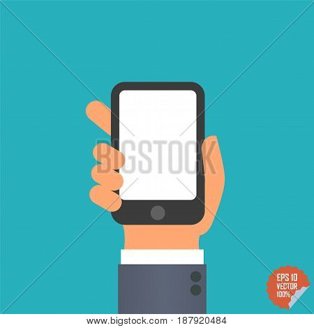 Smartphone Icon In Hand For Website Or Mobile Application.