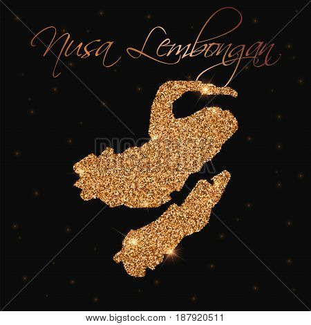 Nusa Lembongan Map Filled With Golden Glitter. Luxurious Design Element, Vector Illustration.
