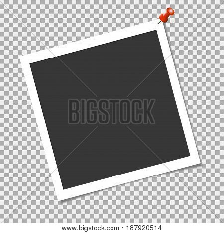 Photo Frame With Red Pin On Transparent Background. Vector Template For Your Trendy And Stylish Phot