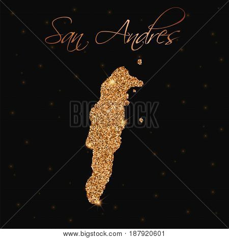 San Andres Map Filled With Golden Glitter. Luxurious Design Element, Vector Illustration.