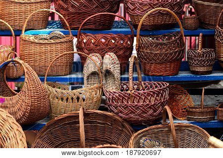 A variety of wicker baskets from willow rods