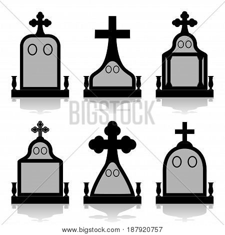 Illustration silhouette set tombstones on a white background.