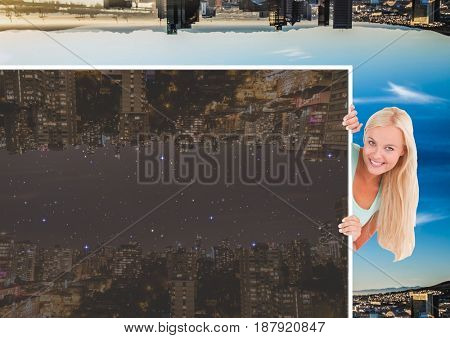 Digital composite of up side down city during the day and girl taking away the night