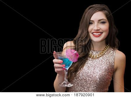Digital composite of Woman with cocktail against black background