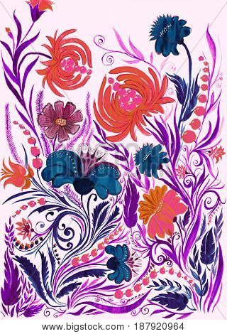 Abstract flower background, watercolor drawing on paper