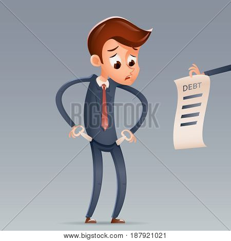 Out Money Debt Sad Businessman Empty Pockets Cartoon Character Looking Bill Icon Retro Cartoon Financial Concept Design Vector Illustration
