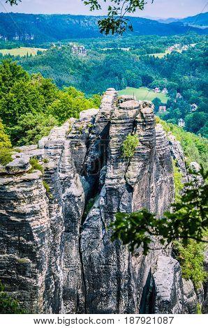 Bastei rock formation in Saxon Switzerland National Park, Germany.