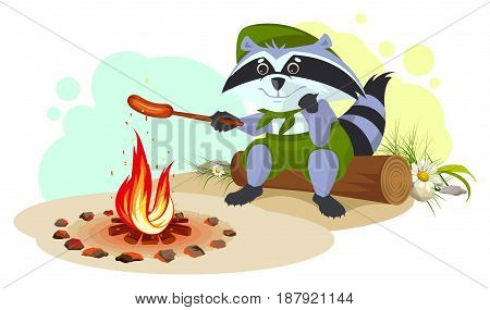 Raccoon scout fry sausages on fire. Vector cartoon illustration