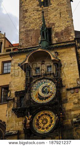 View to Orloy Clock in Prague Czech Republic
