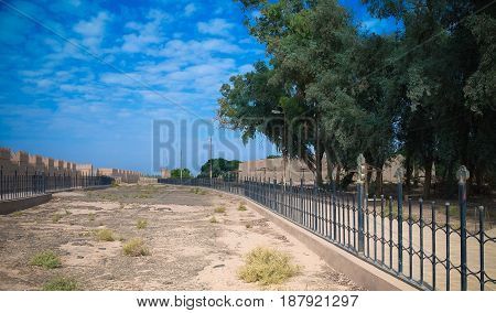 Ruins of Processional street of ancient Babylon in Hillah Iraq