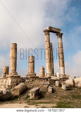 The ruins of the Temple of Hercules at The Citadel (Jabal al-Qal`a) in the center of Amman, Jordan