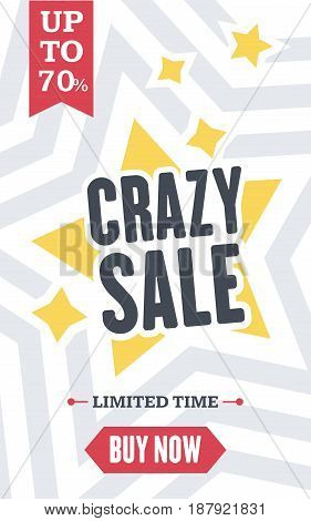 Social Media Crazy Sale Banner. Vector Illustrations For Website And Mobile Website Banners, Posters