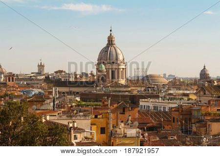The aerial panoramic cityscape of Rome, Italy