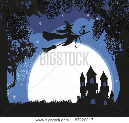 Witch flying on a broom in moonlight , vector illustration