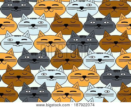 Seamless pattern with emotional faces of cats. Vector background