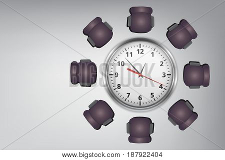 Time Management Concept : Meeting time - Many chairs around round table with clock face.