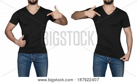 Man in black tshirt, isolated on white background
