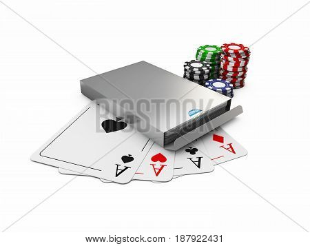 3D Illustration Of Play Card Box, Chips And Cards, Isolated White