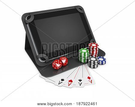 3D Illustration Of Online Mobile Casino. Poker App Online Concept. Tablet With Chips, Cards And Coin