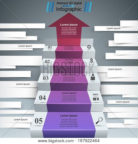 3D infographics and business ladder. Marketing info.