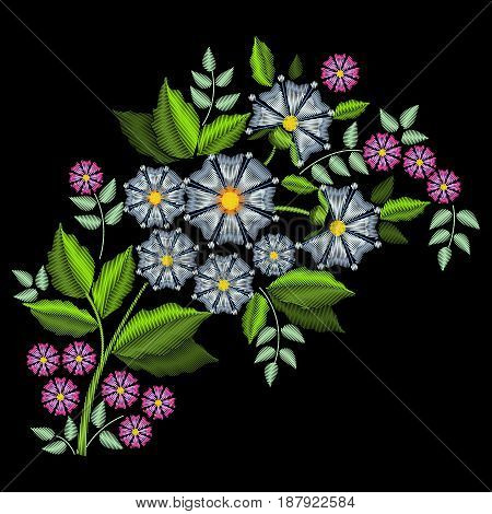 Bouquet of wildflowers. Stylish fashionable bright floral arrangements for embroidery textile products