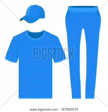 Blue t-shirt, baseball cap and pants design templates. Vector illustration isolated on white background.