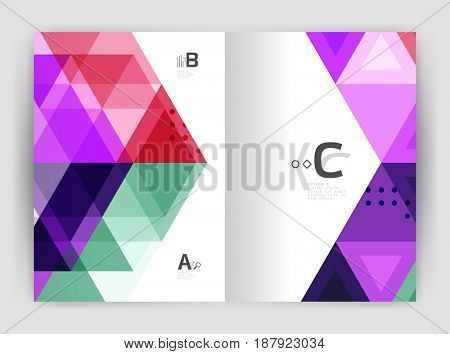 Modern business brochure or leaflet print cover template. Abstract background with color triangles. design for workflow layout, diagram, number options or web design