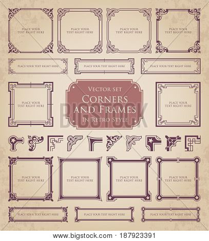 Retro frames, corners and calligraphic design elements