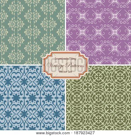 Seamlessly tiling vintage patterns - vector set