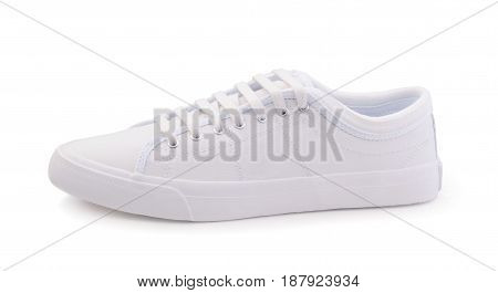 Female white sport shoes isolated on white
