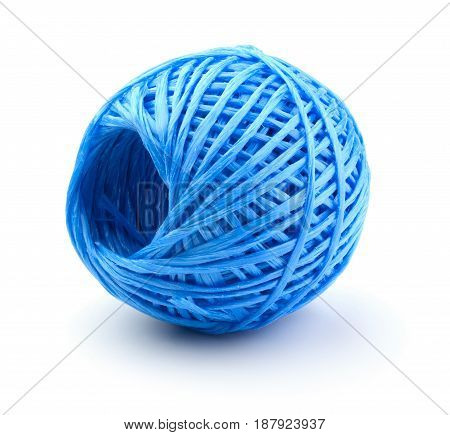 Skein of blue plastic string isolated on a white background