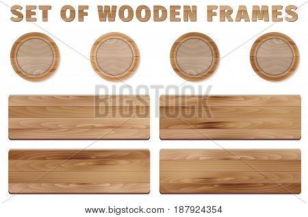 Set of circle and rectangular wooden frames on white background - vector illustration