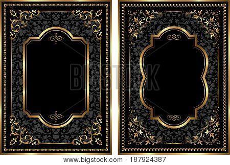 Vector set of gold vintage style frames