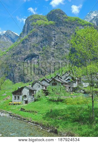 idyllic Village of Roseto in Val Bavona,Ticino Canton,Switzerland