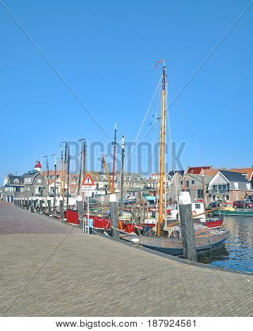 Harbor of Urk at Ijsselmeer in Flevoland Province,Netherlands