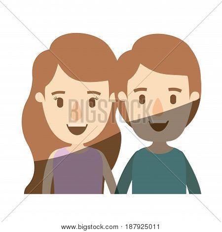 light color shading caricature front view half body couple children vector illustration