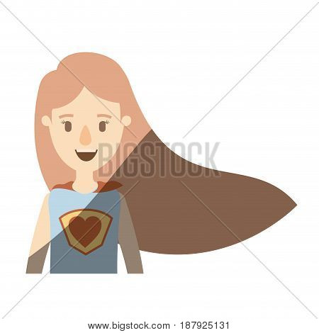 light color shading caricature half body super woman with straight long hair vector illustration