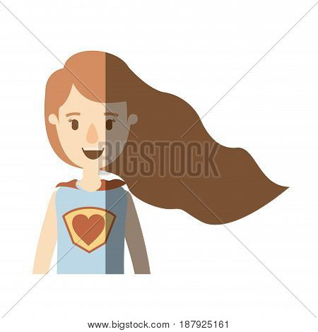 light color shading caricature half body super hero woman with wavy long hair vector illustration