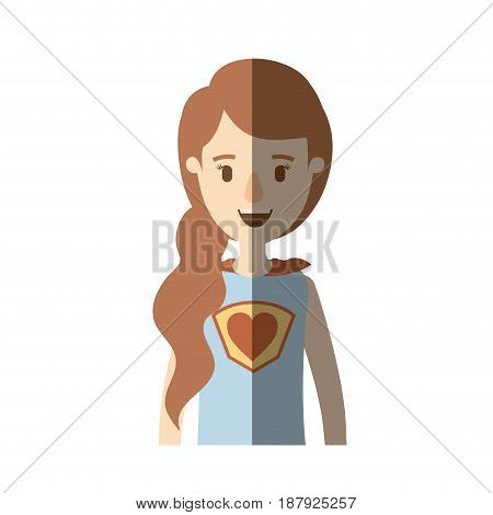 light color shading caricature half body super woman with ponytail side hairstyle vector illustration