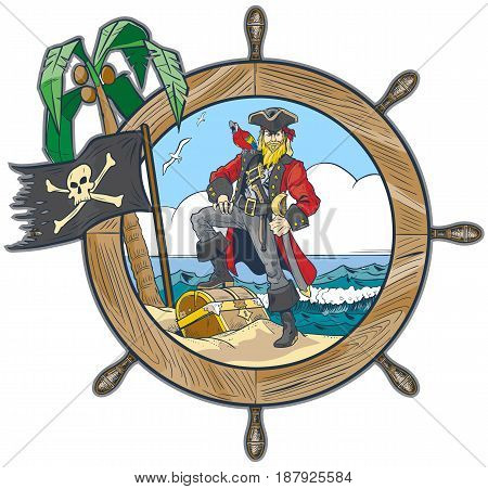 Vector cartoon clip art illustration of a pirate in a ship's steering wheel design with a flag palm tree parrot seagulls and a treasure chest on the beach.