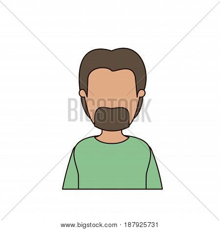 colorful caricature faceless front view half body male with beard vector illustration