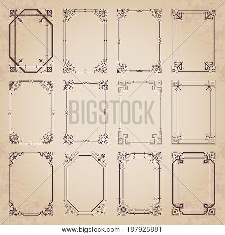 Vintage decorative calligraphic frames - vector set