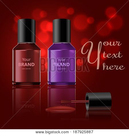 Round red glossy nail polish bottle with black cap. Realistic packaging mockup template. Front view. Vector illustration.