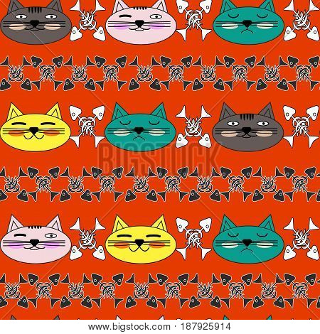 Emotional cat face with bright cheeks and black and white fish skeletons. Seamless pattern. Vector
