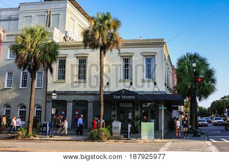 Charleston, SC, USA - 09/09/2016: The Vendue Hotel at Vendue Range in Charleston SC