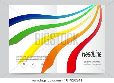 Colorful lines Cover template background flyer design. Abstract template for annual business report poster