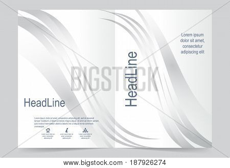Silver color Cover template background flyer design. Abstract template for annual business report poster