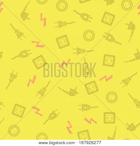 Plugs Seamless Pattern Isolated on Yellow Background