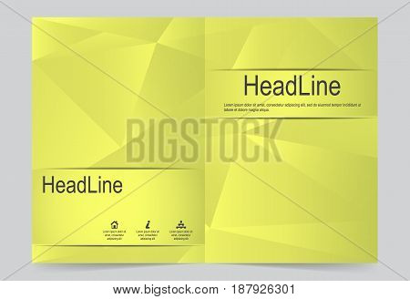 Gold Cover template background flyer design. Abstract template for annual business report poster