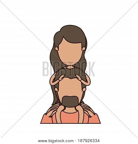 colorful caricature faceless front view half body bearded father with moustache and girl on his back vector illustration